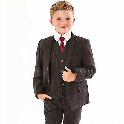 Boys Suits Wedding Suit 5pc Tweed Waistcoat Suit Page Boy Formal Party grey new
