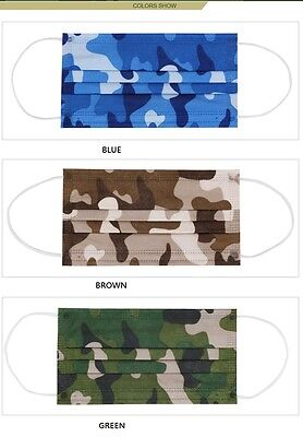 10pcs 50pcs One Time Used Disposable Medical Ear loop Face Mask Camo Blue Brown