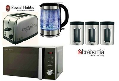 Russell Hobbs Microwave Kettle and Toaster with 3 Piece Silver Canister Set New