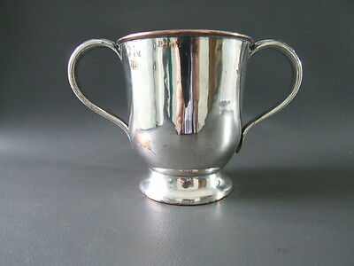 Antique silver plated on copper 2 handled 1 pint cup with several marks