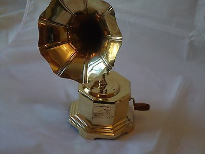 Brass Haxagon Gramophone with Horn Vintage Style Nice Display Gift