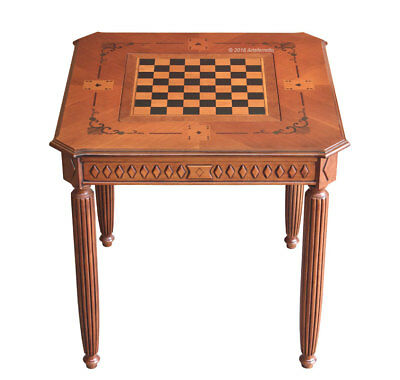 Square chess board table in wood, side coffee table, living room side table