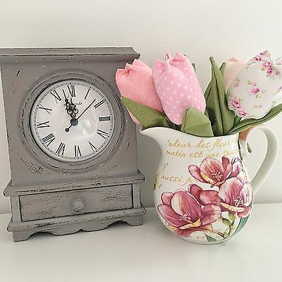 Shabby Chic Grey Vintage Style Wooden Mantle Carriage Clock With Drawer