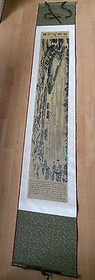 Huge Vintage Japanese Oriental Satin Wall Hanging Scroll 75 Inches Boxed