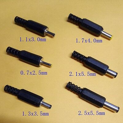 ID 0.7MM 1.1MM 1.3MM 1.7MM 2.1MM 2.5mm male DC Power Plug Jack Connector