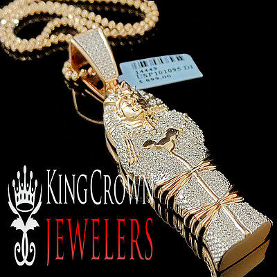 Real Diamond Egyptian Pharaoh King Tut Mummy Pendant 10K Rose Gold Finish Charm