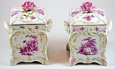 Pair of Rococo-style German KPM Porcelain Boxes with Gilt & Hand-Painted Scenes