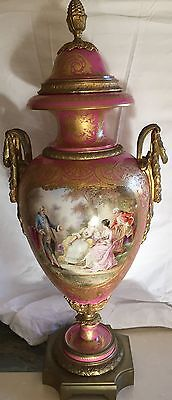 Magnificent Original French 19C Hand Painted Sevres Urn Signed