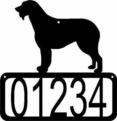 Irish Wolfhound Dog CUSTOM Personalized Metal ADDRESS House Number Sign Made USA