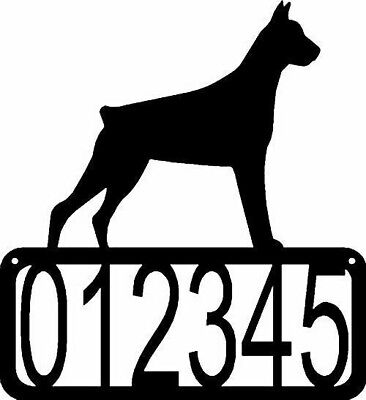 Doberman Cropped ears Dog CUSTOM Personalized ADDRESS House Number Sign Made USA