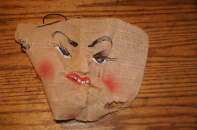 Antique Vintage 1940s Muslin Gauze Cut Face Halloween Mask Costume Hand Painted.