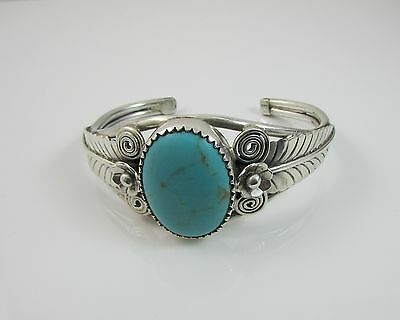 Huge Turquoise Native American Navajo Sterling Silver Feathers Cuff Bangle 925