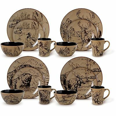 Wildlife Dinnerware Sets Rustic Cabin Lodge Wilderness Nature Casual 16 Piece S