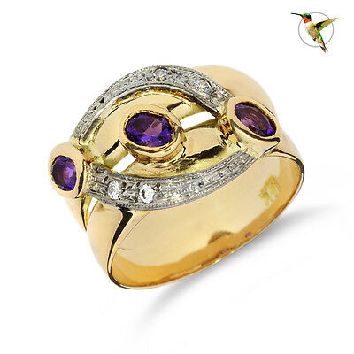 Amethyst Oval Cut and White Sapphire Ring in 18k Solid Yellow Gold #2556