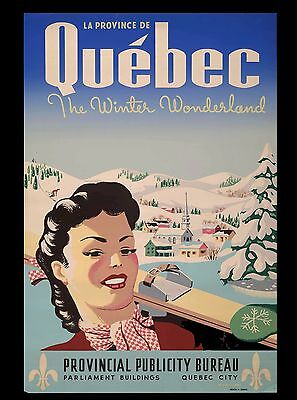 Quebec City The Winter Wonderland Canada Canadian Travel Advertisement Poster