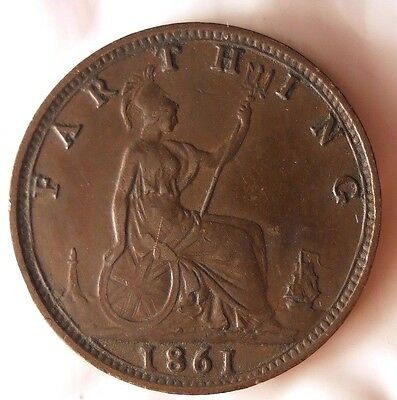 1861 GREAT BRITAIN FARTHING - High Quality Coin - FREE SHIP WORLDWIDE - HV14