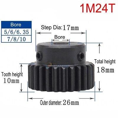 45# Steel Motor Spur Pinion Gear 1Mod 24T Outer Diameter 26mm Bore 10mm Qty 1