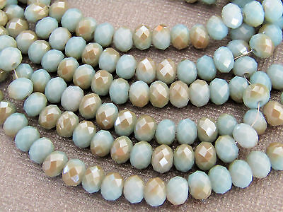 95 pcs RONDELLE FACETED GLASS CRYSTAL BEADS 6 mm Pale Blue & Beige