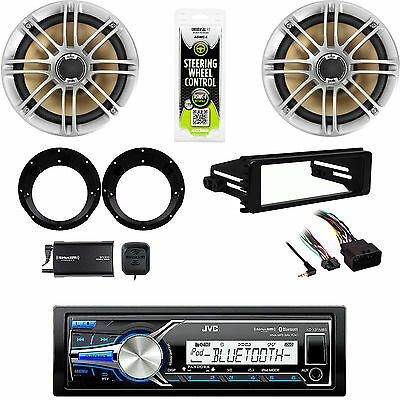 "USB JVC Stereo-98-2013 Dash Harley Install Kit, 6.5""Speakers, Adapters, XM Tuner"