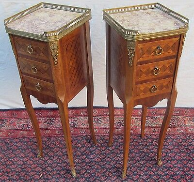 Rare Sized Diminutive Inlaid Pair Of French Louis Xiv Carrera Marble Topped Nigh