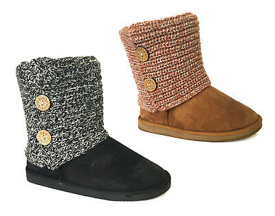 New Women's Fashion 2 button Knitting Boot Ladies Classic Snow Boot Faux Fur-420