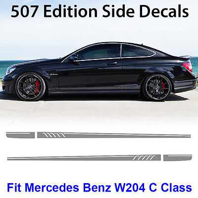 AMG C63 507 Side Stripe Decals Stickers Mercedes Benz C Class W204 Silver Gray