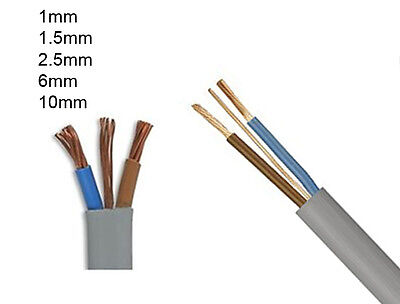 TWIN EARTH ELECTRIC CABLE OVEN CABLE WIRE 1mm 1.5mm 6mm 1m 2m 3m 4m 5m 10m