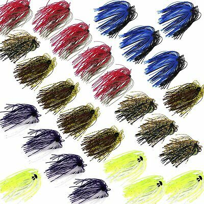 12/20pcs Fishing Rubber Jig Skirts Mixed Color 50 Strands Silicone Skirts Lure