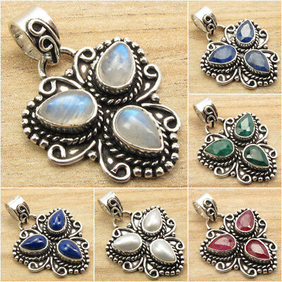 925 Silver Plated OXIDIZED Pendant ! MOONSTONE & Other Gem Variation