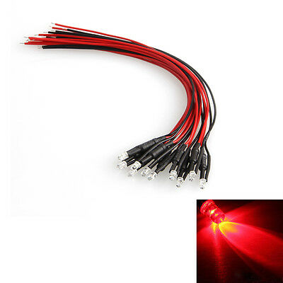 10 Pcs DC 24V Pre-wired LED Lamp Red Light Cable Bulb Emitting Diode 18cm 3mm