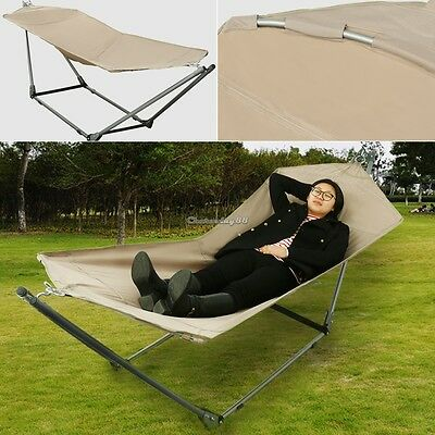Foldable Heavy Duty Stand & Hammock Outdoor INDOOR Swing Chair Bed