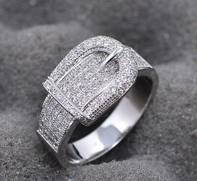925 Silver Filled White Sapphire  Birthstone Engagement Wedding Ring size 5-11