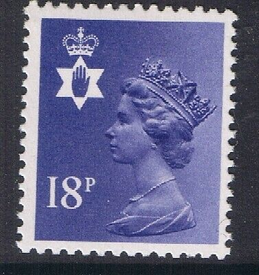 GB QEII Northern Ireland. SG NI45 18p Deep Violet PP. Regional Machin.