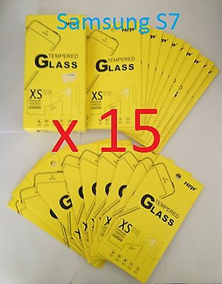 Joblot of 15 pcs - Tempered Glass Screen Protector for Samsung Galaxy S7 *NEW*