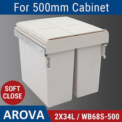 2X34L Side Mount Soft Close Pull Out Twin Bin Kitchen Double Dual Rubbish Waste
