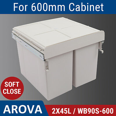 2X45L Side Mount Soft Close Pull Out Twin Bin Kitchen Double Dual Rubbish Waste
