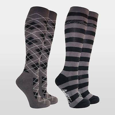 Mark Todd Collection Long Ladies Horse Riding Socks (Pack 2) Grey/Black
