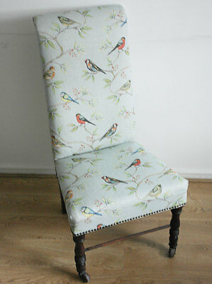 Bird print light blue statement armchair easy chair lounge bedroom vintage