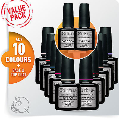 QUTIQUE Gel Nail Polish Colour VALUE Kit/Pack/Set -ANY 10 COLOURS Base/Top Coat