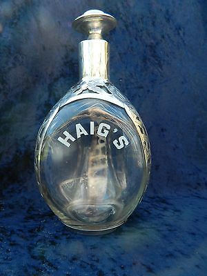 Vintage Haig's Pinch Liquor  Bottle w/ Sterling Silver Rose Detail