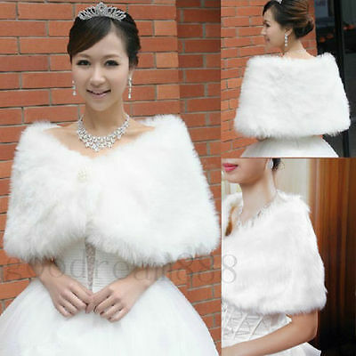 Hot Sale Ivory Faux Fur Wedding Wraps Shrug Bolero Jackets Bridal Coat Shawls