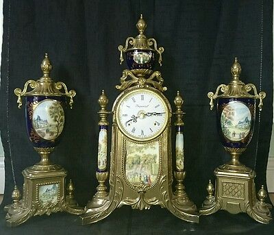 Antique Imperial Italian Sevres Style Clock with Garnitures 3pc