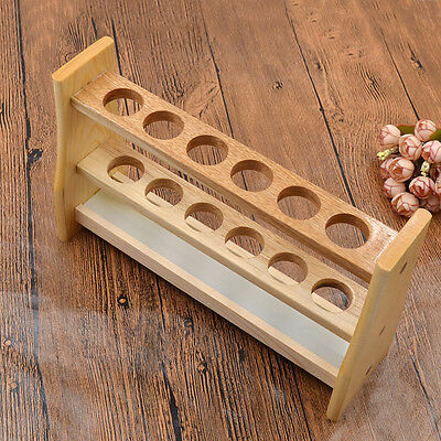 6 Holes Test Tube Rack Testing Tubes Holder Stand Storage Wooden Lab Supplies