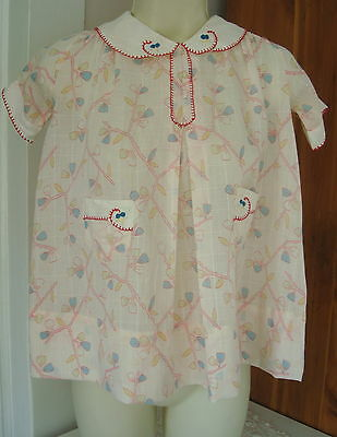 Vintage 1930s Girls Frock Dress 4-5 Pink Blue Candy Limbs Pockets Red Embroidery