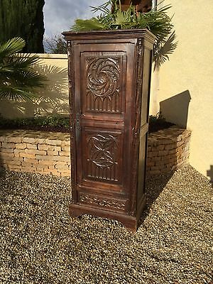 Antique French Gothic Well Carved Narrow Model in Oak 19th Century