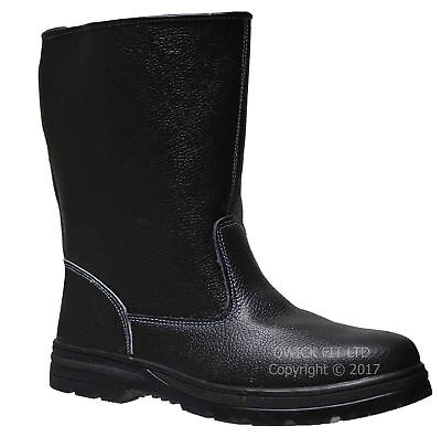 Mens Waterproof Leather Rigger Boots Steel Toe Cap Safety Work Wellington Shoes