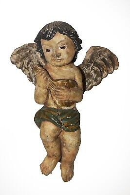 "Beautiful Elegant Hand Carved Wall Cherub From The Philippine's 19"" Tall"