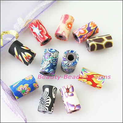 30Pcs Mixed Handmade Polymer Fimo Clay Tube Spacer Beads Charms 6.5x11mm
