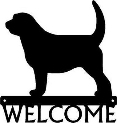 "Dog Silhouette Metal Art Welcome Sign Wall Plaque 12"" - Breed Otterhound"