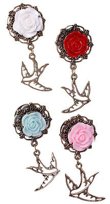 plugs tunnels expander mit rose anhänger body jewelry PL32